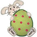 Bunny Holding Egg Applique Design