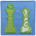 Chess King Queen Patch Applique Design