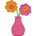 Flower Vase Applique Design