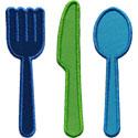 Fork Knife Spoon Applique Design