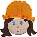 Girl Construction Head Applique Design
