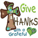 Give Thanks Cross Applique Design
