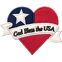 God Bless USA Heart Applique Design