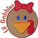 Lil Gobbler Girl Applique Design