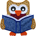 Owl Reading Applique Design