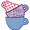 Pile Of Teacups Applique Design