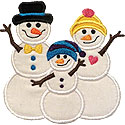 Snowman Family One Kid Applique Design