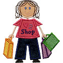 Stick Shopping Girl Applique Design
