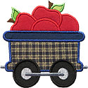 Train Car Apples Applique Design