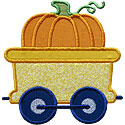 Train Car Pumpkin Applique Design