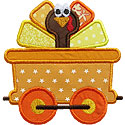 Turkey Train Car Applique Design