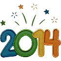 Year 2014 Fireworks Applique Design