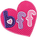 BFF Heart Applique Design