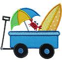 Beach Surf Wagon Applique Design