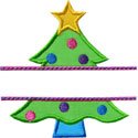 Christmas Tree Name Plate Applique Design