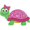 Cute Turtle Girl Applique Design