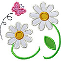 Daisy Flowers Applique Design