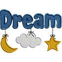 Dream Cloud Moon Applique Design