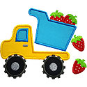 Dump Truck Strawberry Applique Design