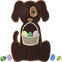 Easter Basket Dog Applique Design
