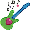 Electric Guitar Heart Applique Design