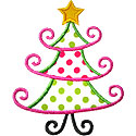 Fancy Christmas Tree Applique Design