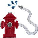 Fire Hydrant Hose Applique Design