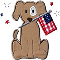 Fireworks Flag Dog Applique Design
