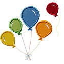 Flying Balloons Applique Design
