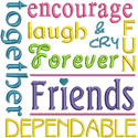 Friend Word Art Applique Design