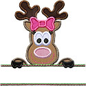 Girl Reindeer Name Plate Applique Design