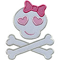 Girl Skull Bones Applique Design