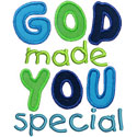 God Made You Special Applique Design