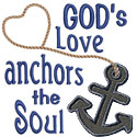 Gods Love Anchors Applique Design