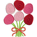 Half Dozen Roses Applique Design