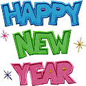 Happy New Year Lettering Applique Design