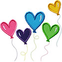 Heart Balloons Applique Design