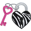 Heart Key Lock Applique Design