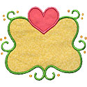 Heart Swirl Frame Applique Design