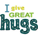 I Give Great Hugs Applique Design