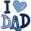 I Love Dad Applique Design