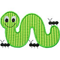Inchworm Ants Applique Design