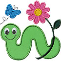 Inchworm Flower Applique Design