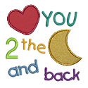 Love You 2 Moon Applique Design