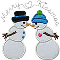 Merry Kissmas Snowmen Applique Design