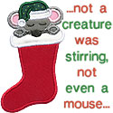 Mouse In Stocking Applique Design