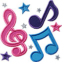 Music Notes Stars Applique Design