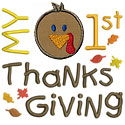 My First Thanksgiving Applique Design