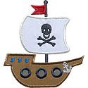 Pirate Ship Skull Applique Design