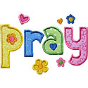Pray Lettering Applique Design